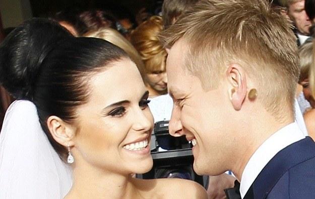 Z żoną Marleną w dniu ślubu /East News