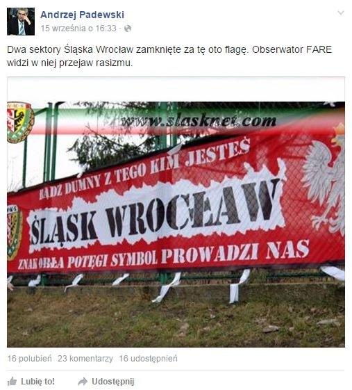 Za tę flagę został ukarany Śląsk (źródło: Facebook Andrzeja Padewskiego z Dolnośląskiego ZPN) /INTERIA.PL