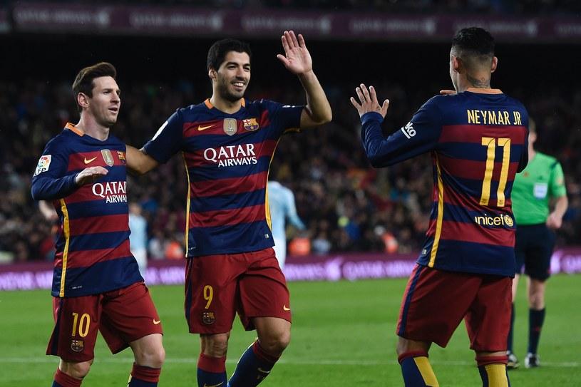Zabójcze trio Barcelony: Neymar (z prawej), Luis Suarez i Lionel Messi /AFP