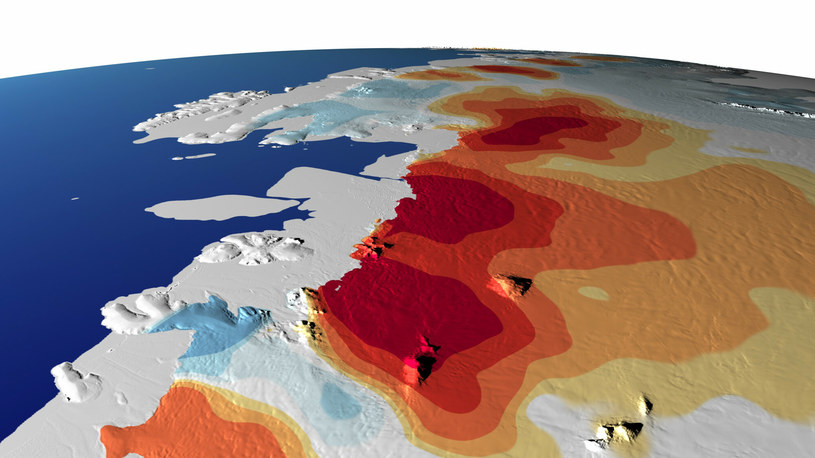 Zachodnią część Antarktyki. Na czerwono zaznaczono miejsca, gdzie w latach 1993 - 2018 ubyło najwięcej lodu, na niebiesko - te, gdzie go przybyło /NASA's Scientific Visualization Studio /East News