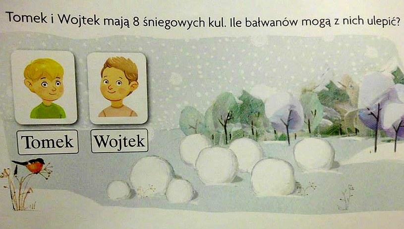 Zadanie z części matematycznej /Nasz elementarz/Zima /