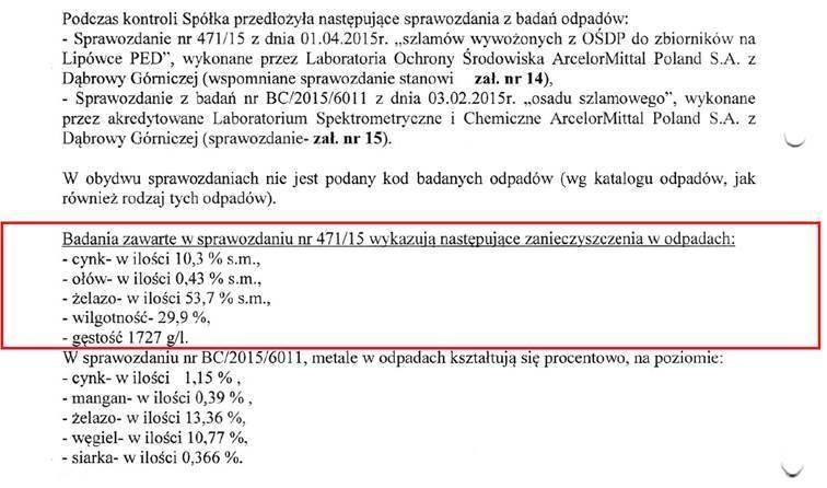 (Zakreślone substancje wykazują zbieżność z wynikami badań AGH w Krakowie) /