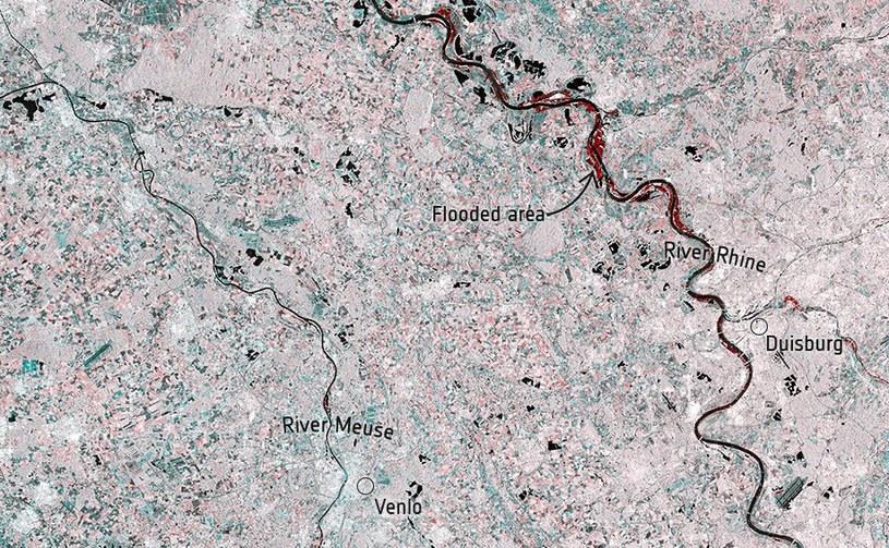 Zalane tereny wzdłuż rzeki Ren - dane z satelitów Sentinel-1 / Fot: ESA, Copernicus Sentinel /materiały prasowe