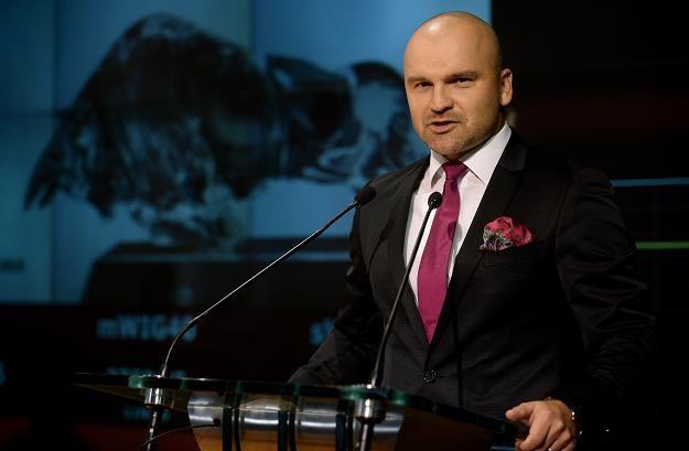 Założyciel i właściciel InPost Rafał Brzoska podczas debiutu spółki na  GPW /PAP