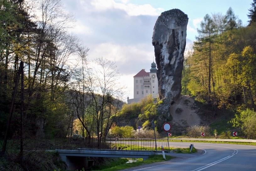 Zamek w Pieskowej skale, a przed nim unikatowa, zbudowana z twardych wapieni skalistych maczuga skalna - Maczuga Herkulesa /JT /INTERIA.PL