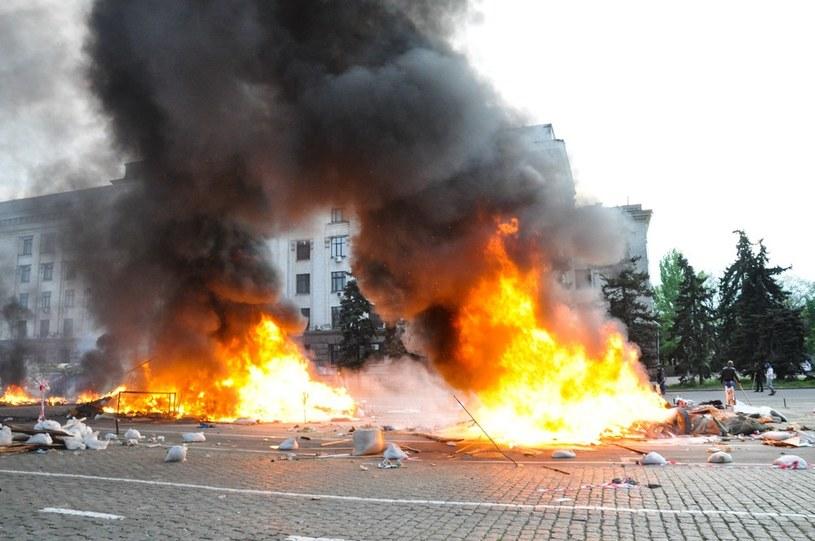 Zamieszki w Odessie, gdzie podpalono budynek związków zawodowych. /East News