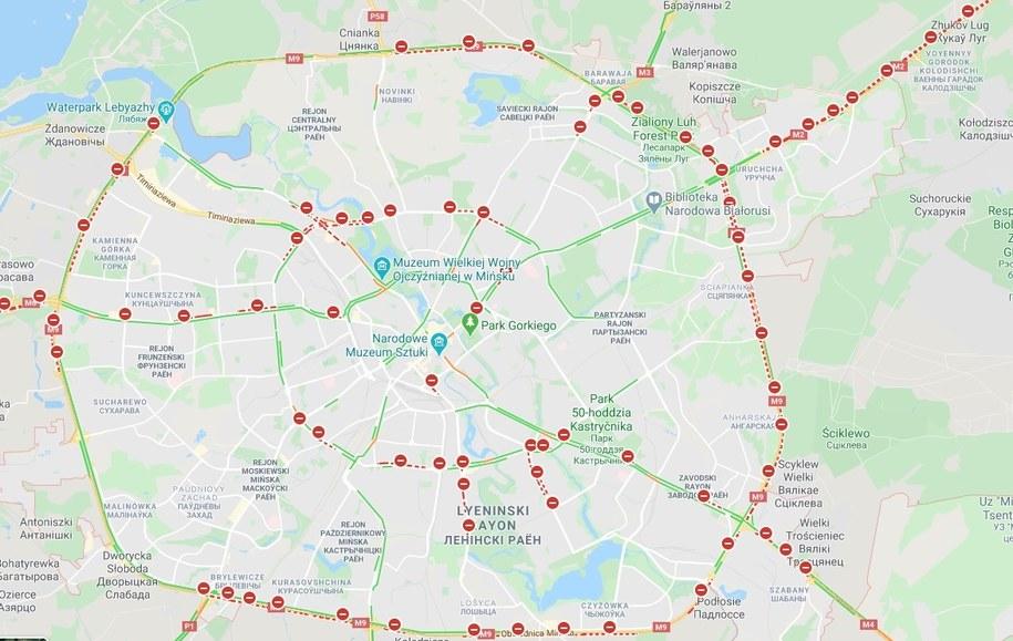 Zamknięte ulice w Mińsku /Google Maps /