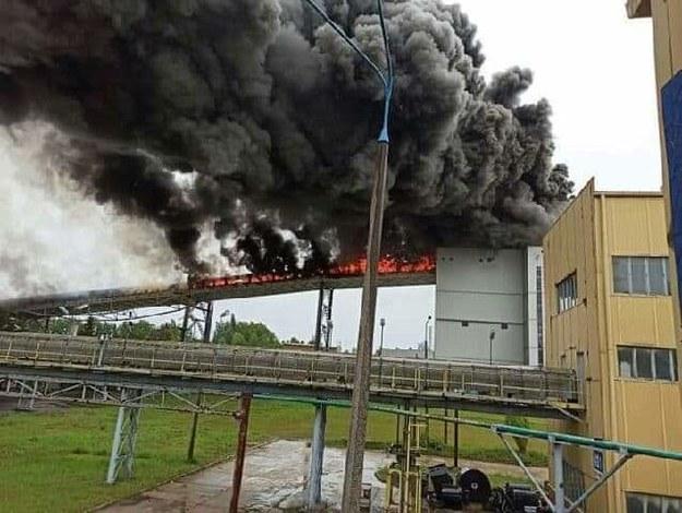 Zapalił się taśmociąg, który jest na wysokości około 30 metrów /Gorąca Linia RMF FM