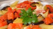 Zapiekanka: penne, baklazan, pomidory i ser Morbier