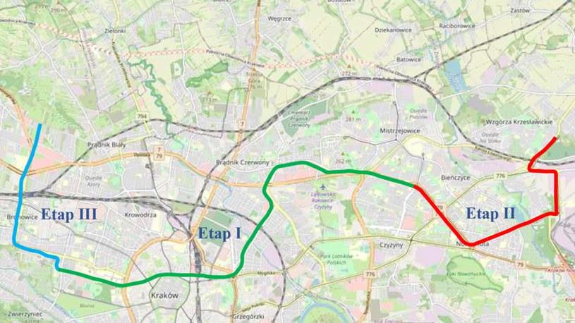 Zapowiadana trasa krakowskiego premetra po ukończeniu całej inwestycji. Najpierw ma powstać torowisko w ramach Etapu I /Urząd Miasta Kraków /Archiwum