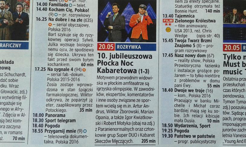 """Zapowiedź Płockiej Nocy Kabaretowej, która ukazała się w tygodnku """"Tele Tydzień"""" /materiały prasowe"""