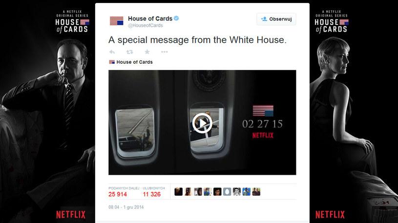 """Zapowiedź """"Specjalnej wiadomości z Białego Domu"""" na Twitterze. /Twitter /internet"""