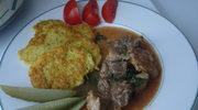 Zapraszam na sobotni obiad - danie - gulasz po wegiersku, placki ziemniaczane