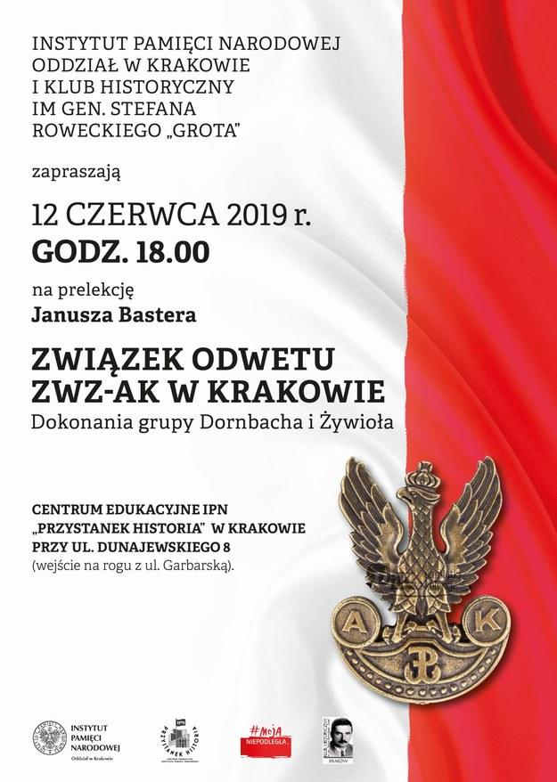 Zaproszenie na prelekcję o Związku Odwetu ZWZ-AK w Krakowie /IPN