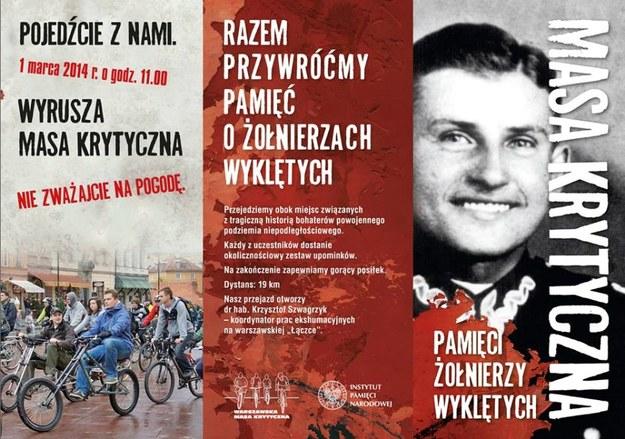 """Zaproszenie na rowerową """"Masę Krytyczną"""" pamięci Żołnierzy Wyklętych /www.pamiec.pl /"""