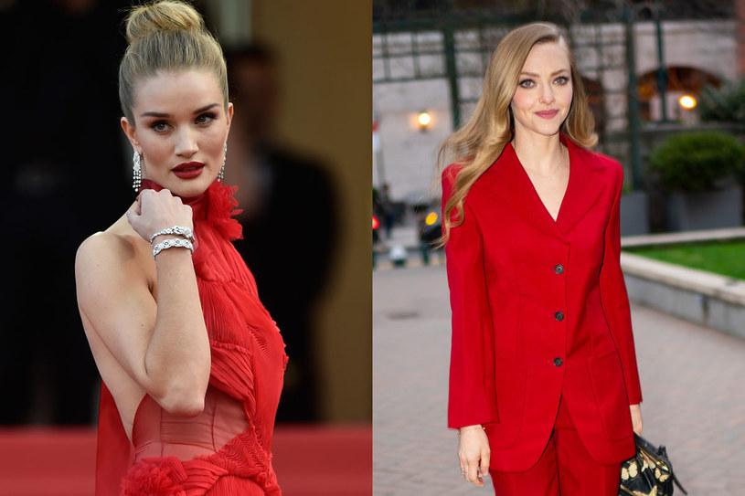Zarówno Rosie Huntington-Whiteley, jak i Amanda Seyfried znakomicie wyglądają w czerwieni /Getty Images