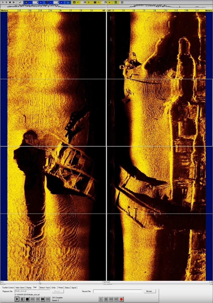 Zarys jednostki (bocznokołowca), zdjęcia sonarowe /Przegląd