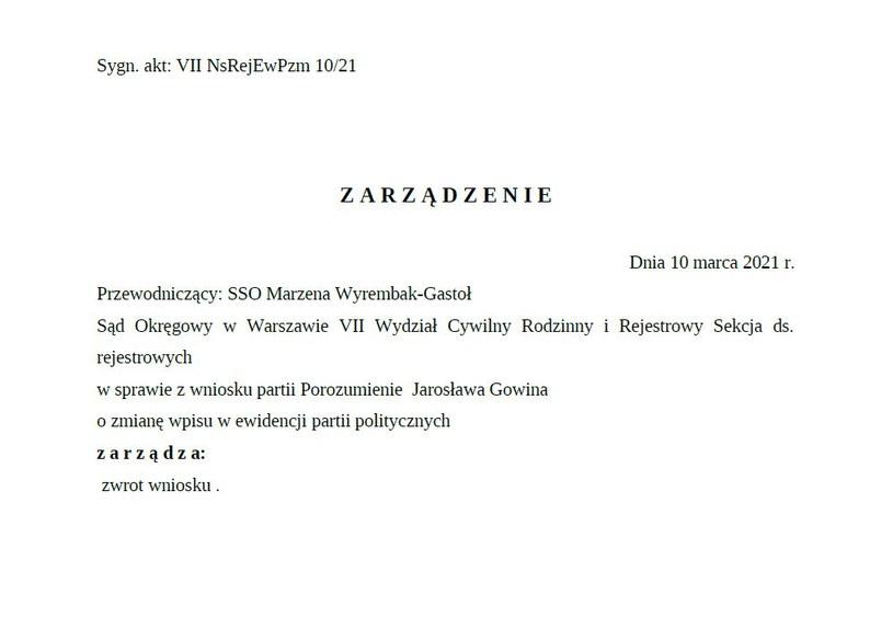 Zarządzenie sądu o zwrocie wniosku /archiwum prywatne