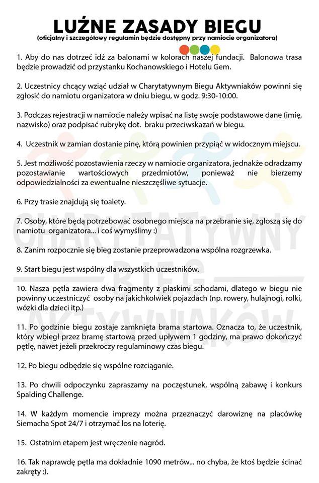 Zasady Biegu Aktywniaków /Informacja prasowa