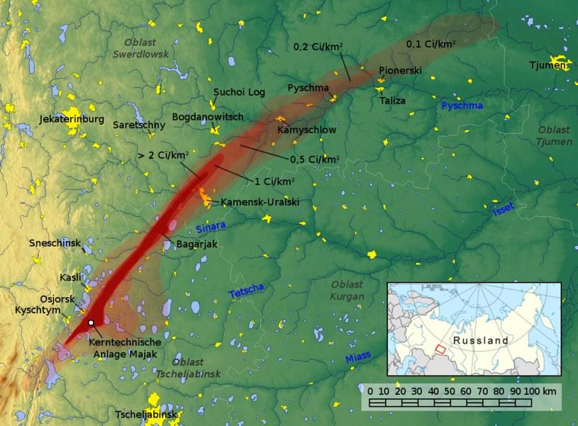 Zasięg skażenia Wschodnio-Uralskiego Śladu Radioaktywnego /Wikipedia
