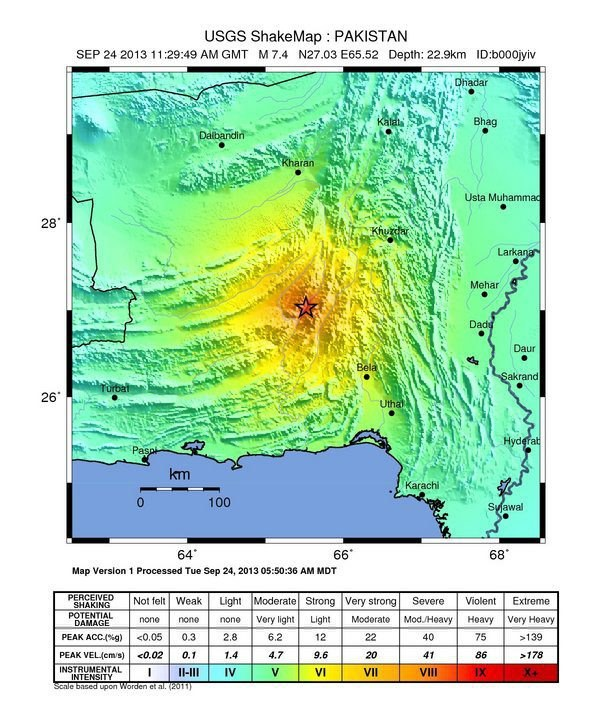 Zasięg trzęsienia ziemi w Pakistanie /USGS/HANDOUT /PAP/EPA