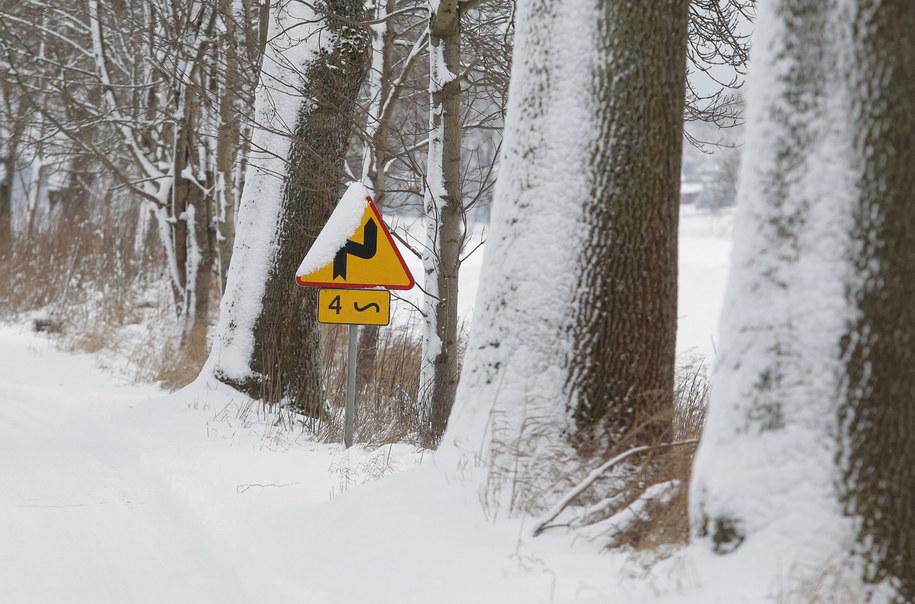 Zaśnieżona droga w miejscowości Nowa Wieś, po nocnych opadach śniegu w woj. warmińsko-mazurskim /Tomasz Waszczuk /PAP