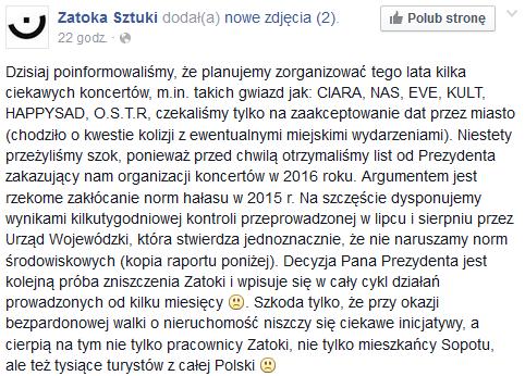 Zatoka Sztuki na Facebooku /