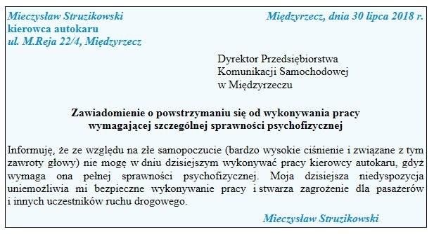 Zawiadomienie o powstrzymaniu się od wykonywania pracy /Gazeta Podatkowa