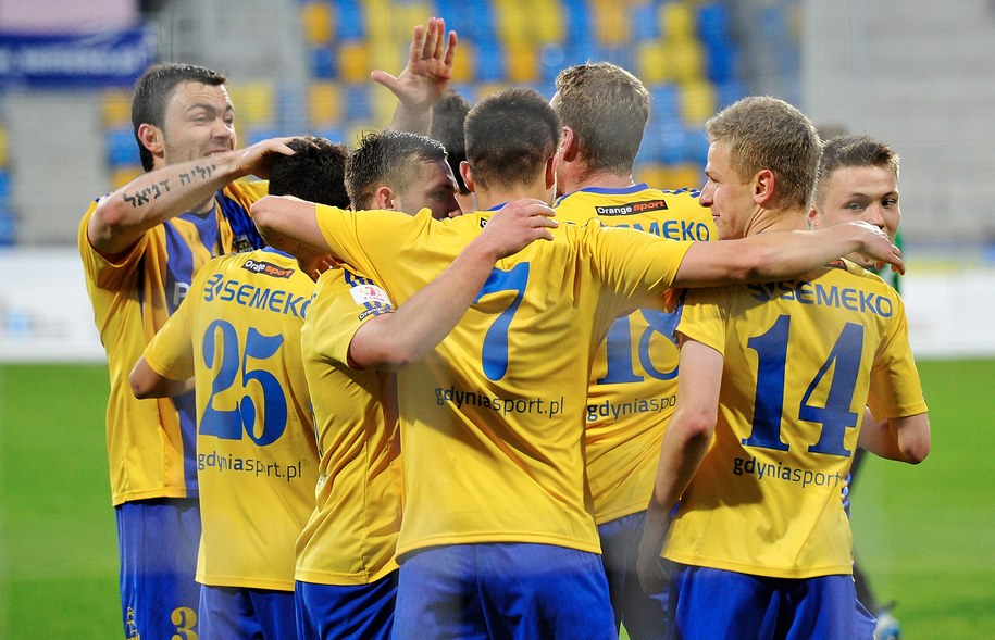 Zawodnicy Arki Gdynia Ceny zapłacą połowę ceny biletów na najbliższy mecz z Chojniczanką Chojnice (zdjęcie z kwietnia 2014) /Adam Warżawa /PAP