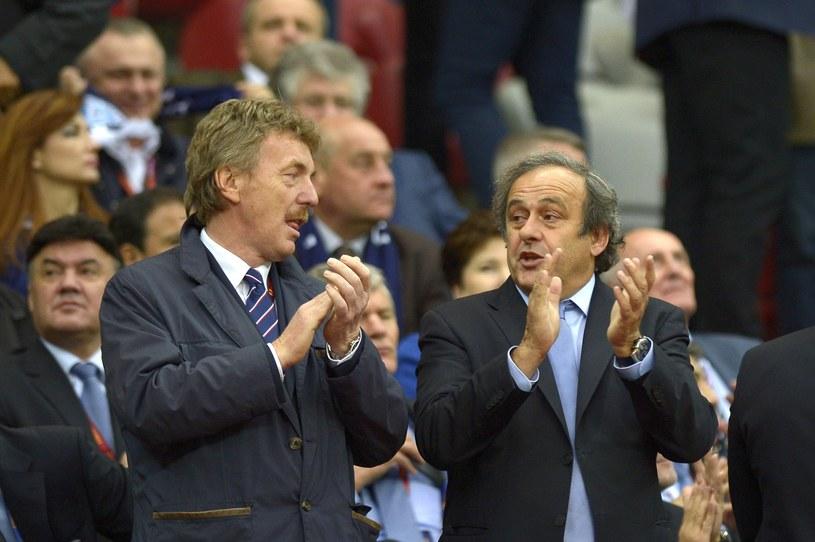 Zbigniew Boniek i Michel Platini na finale Ligi Europejskiej. /AFP