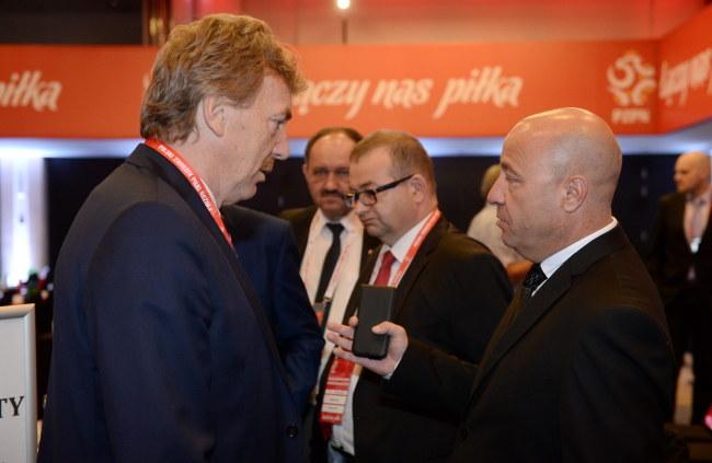 Zbigniew Boniek (z lewej), prezes PZPN-u, i Kazimierz Greń, szef Podkarpackiego ZPN /Bartłomiej Zborowski /PAP