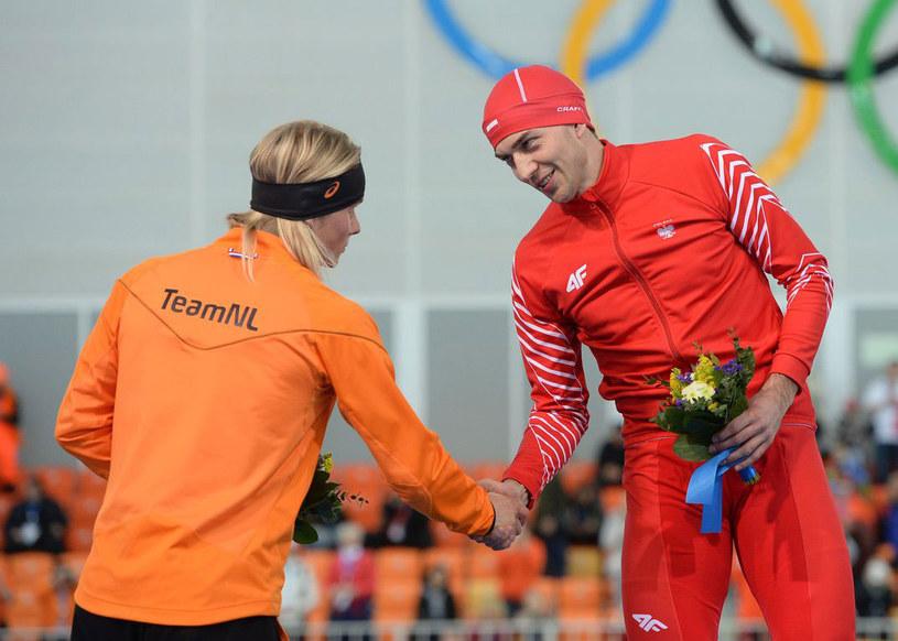 Zbigniew Bródka (z prawej) i Koen Verweij podczas igrzysk w Soczi /AFP