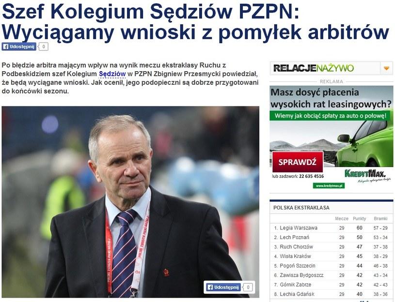 Zbigniew Przesmycki znalazł się na cenzurowanym, ale szef go rozgrzesza. /INTERIA.PL