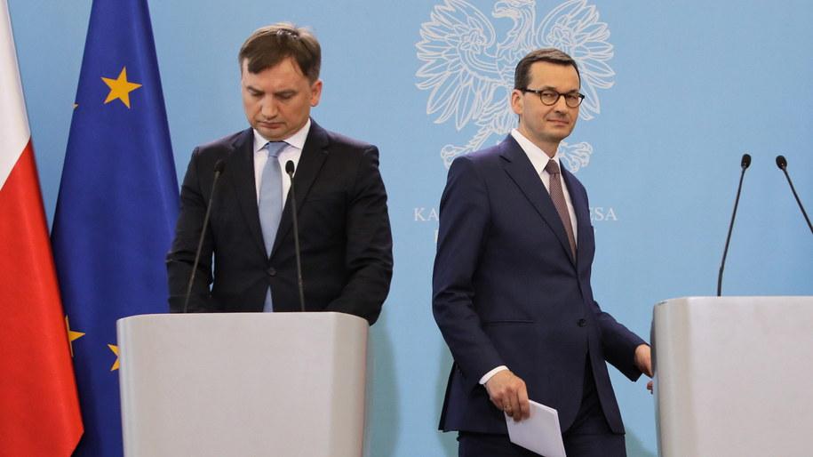 Zbigniew Ziobro i Mateusz Morawiecki /Leszek Szymański /PAP