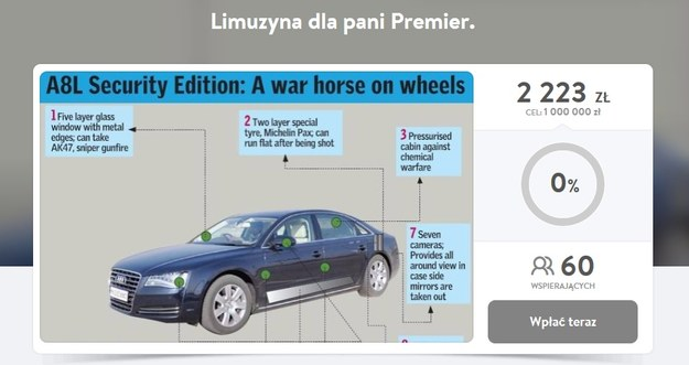 Zbiórka pieniędzy na opancerzone Audi A8 dla premiers Szydło idzie dość pomału /
