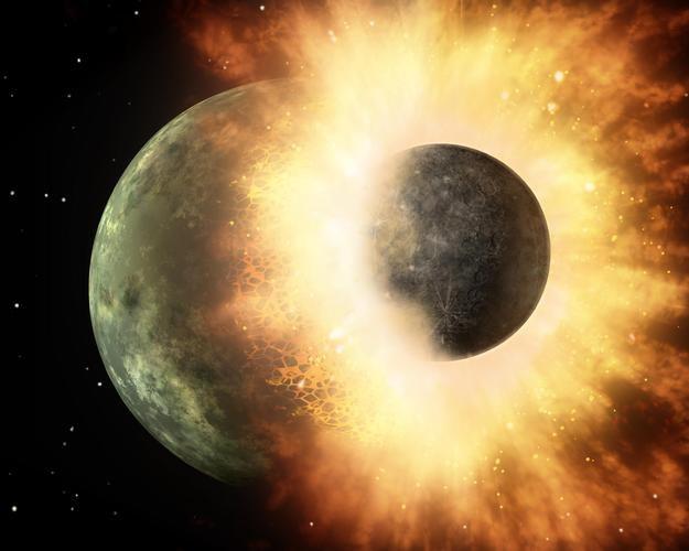 Zderzenie, które doprowadziło do powstania Księżyca mogło być nawet bardziej gwałtowne, niż to wyobrażenie rysownika. /NASA