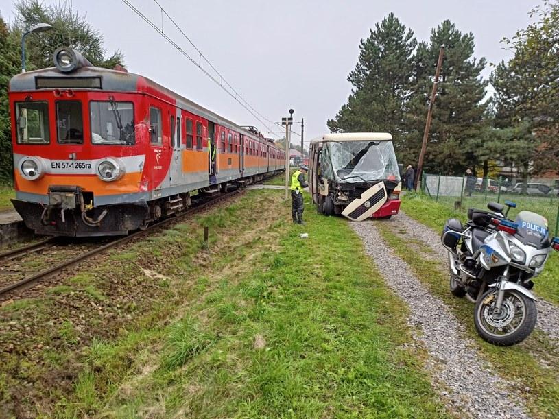 Zderzenie pociągu z autokarem /KPP Oświęcim /