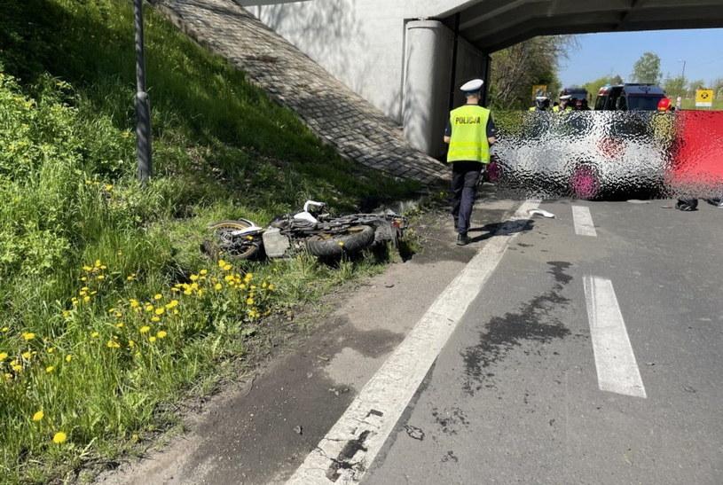 Zderzenie Toyoty z motocyklem /Policja