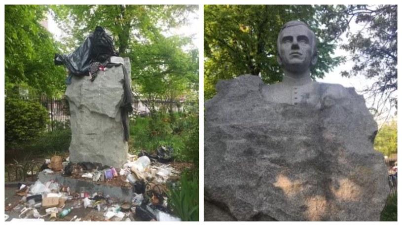 Zdewastowany pomnik ks. Popiełuszki na Greenpoincie /NYPD Hate Crimes /Twitter