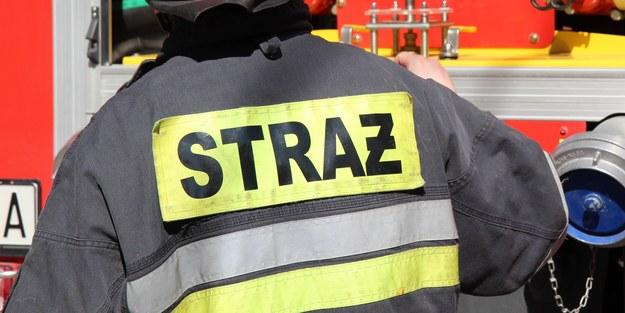 Pożar składowiska palet w Łaziskach Górnych. Runął dach magazynu