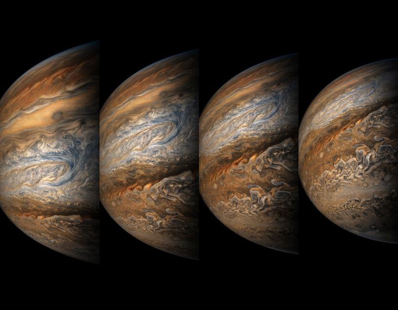 Zdjęcia Jowisza wykonane przez sondę Juno 1 września 2017 roku /NASA