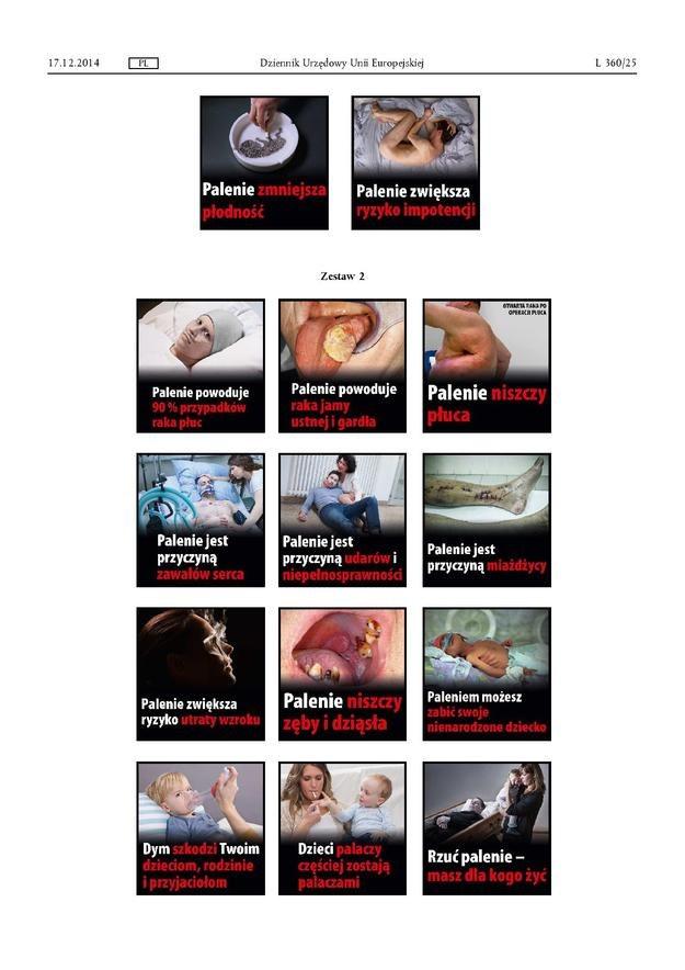 Zdjęcia, które mają się pojawiać na paczkach papierosów, fot. Komisja Europejska /RMF