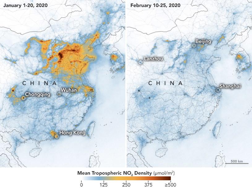 Zdjęcia satelitarne jakości powietrza w Chinach z okresu od 1 stycznia do 25 lutego 2019 roku i z analogicznego okresu 2020 roku /NASA /PAP/EPA