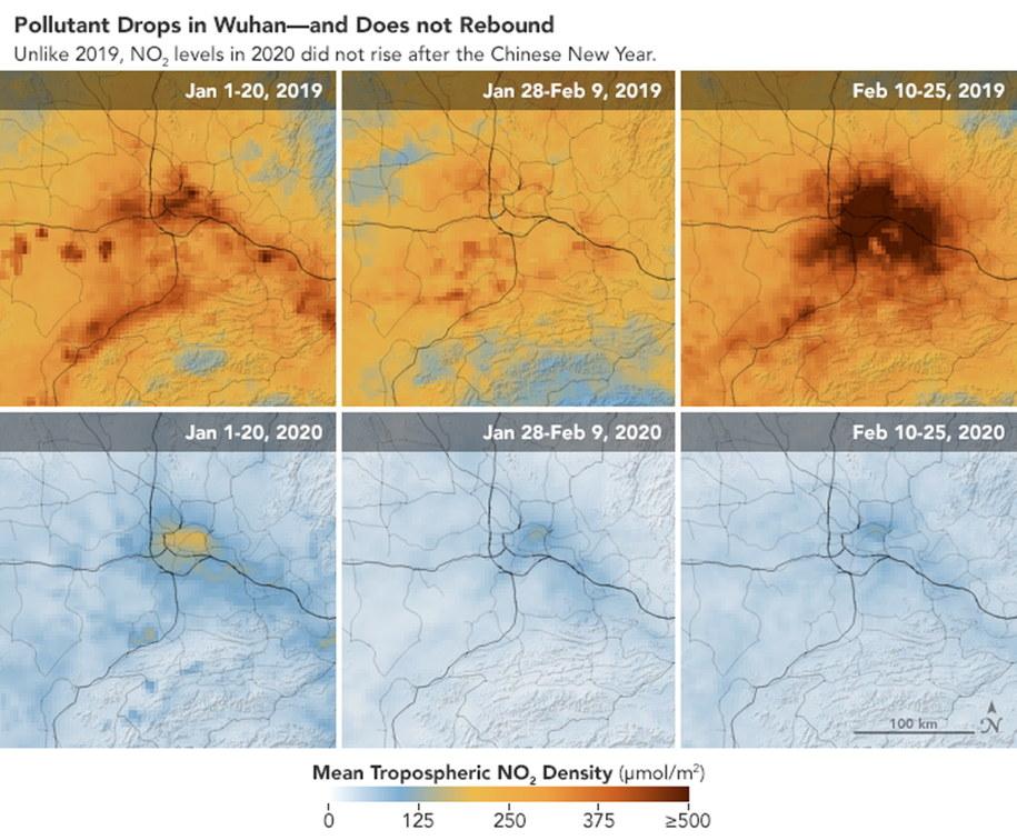 Zdjęcia satelitarne jakości powietrza w Wuhanie z okresu od 1 stycznia do 25 lutego 2019 roku i z analogicznego okresu 2020 roku /NASA /PAP/EPA