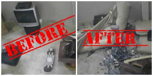Zdjęcia sprzed i po wizycie jednego z klientów Anger Roomu w Dallas /materiały prasowe