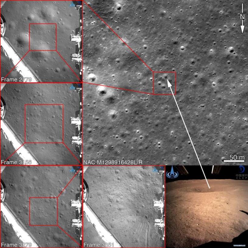 Zdjęcia wykonane przez sondę Chang'e-4 opadającą na powierzchnię - można je łatwo dopasować do zdjęć miejsca lądowania wykonanych przez NASA w grudniu /materiały prasowe