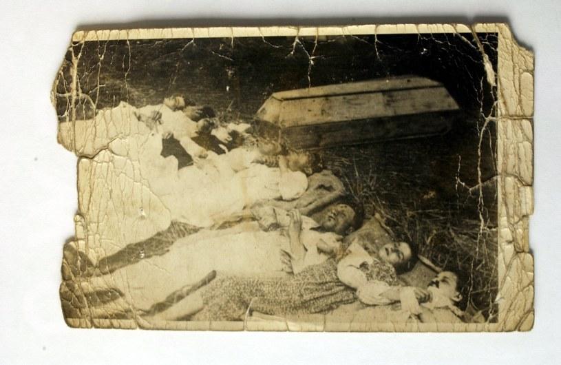 Zdjęcia z archiwum IPN pokazujące wymordowaną przez Ukraińców polską rodzinę /reprodukcja /East News