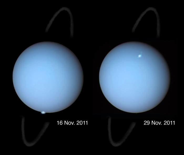 Zdjęcia zórz na Uranie wykonane przez Kosmiczny Teleskop Hubble w 2011 roku / Źródło: HST, Laurent Lamy, AGU /materiały prasowe