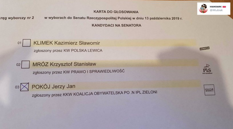 Zdjęcie karty wyborczej, które pojawiło się na Twitterze /Twitter