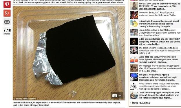 """Zdjęcie materiału """"Vantablack"""" - screen ze strony Daily Mail /RMF24"""